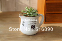 Wholesale Whole saler Vintage Style Succulent Plant Ceramic Pot Enamel Flower Vase Retro Ceramic Cup Hot Selling desk plant
