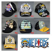Wholesale Black Anime Cos Cosplay Mens Skeleton Tattoo One Piece Stylish Mesh Trucker Skull Ball adjustable Cap Hat Baseball hiphop Casquette