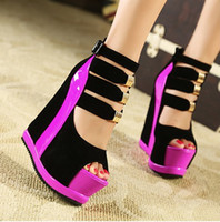 Wholesale New Arrival Ladies Sexy Platform High Wedge Heel Sandals Women Summer Shoes Pumps With Back Zip Nightclub ultra high wedge sandals
