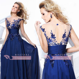 Wholesale Just Hot Selling Illusion Crew Neck Applique Sequin Lace Chiffon Hollow Vintage zuhair murad Celebrity Dress Evening Dress CPS011