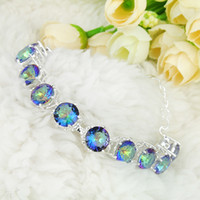 Wholesale 3PCS Luckyshine Hot sell fashion sterling silver plated trendy round rainbow mystic topaz gemstone chain bracelet B1008
