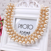 Wholesale Trendy Gold Jewelry Immitation Pearl Bijoux Bib Chokers Collar Multi level Statement Necklace Woman Long Necklace DFX