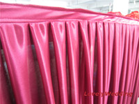 Wholesale polyester ice silk table skirts table skirting for wedding SIZE ft long inch high