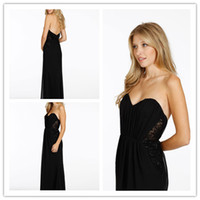 Reference Images Sweetheart Chiffon 2014 Hot Selling Beach A-Line Floor-Length Lace and Chiffon Black Evening Dresses With Sheer Side Panels Sweetheart Backless Prom Gowns