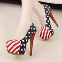 Pumps american ladies shoe sizes - Hot Sale American US flag denim ladies platform high heel shoes women evening pumps size