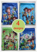 Backpack Style Unisex Plain Children Cartoon Toy Story Drawstring Backpack Bag, 4 Designs Can Choose, Best Birthday Party Gift For Kids, 35X27cm, 4pcs lot