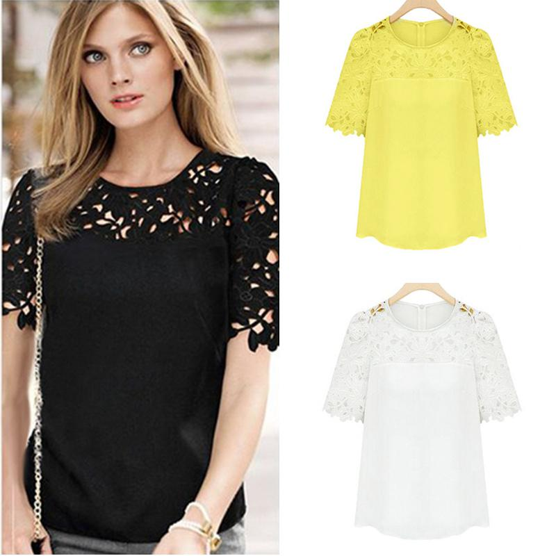 New Spring Summer 2016 Women Chiffon Hollow Out Lace Patchwork ...