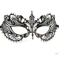 Metal masquerade masks laser cut - Fashion women metal mask laser cut rhinestone diamond masquerade masks dance party ball festive cut out black mask wedding photo props