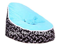 Cotton Front Carry Shoulders Baby Bean Bag Kid Sofa Chair Turqoise seat waterproof Skull base printed Soft Bed with Double layers Harness Strap Free shipping