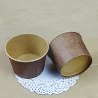 Wholesale wood grain cowhide card ice cream paper cup cake cups with transparent cover