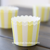 Cheap Free shipping small hornier horse cup cake heat resistant yellow white stripe cakecup liners, party supplies