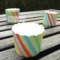 Cheap Free shipping cup cake heat resistant rainbow stripe color muffin cake cups party decoration