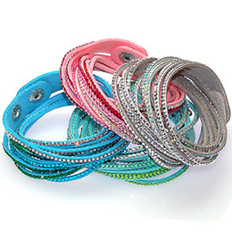 Random Mixed Color Double Wrap Leather Bracelet Wrapped Bracelets Double wrapped bracelets with bilingbling full crystal assorted color
