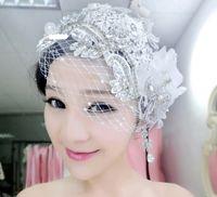 Tiaras&Crowns Silk Flower 100% brand new ! 2014 Fashion Wedding Bridal Ladies Hair Accessories Crystal Rhinestone Flower Pieces Headband Beaded Hat Headdress Tiara Veil Crowns Jewelry