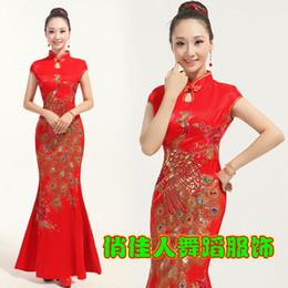 Wholesale Red bridal wedding dress cheongsam improved fashion retro summer dress fishtail Chinese dance costumes F