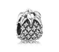 Wholesale 925 Sterling Silver Sparkling Pineapple Charm Bead with Clear CZ Fits European Pandora Jewelry Bracelets amp Necklaces