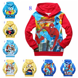 Wholesale New children hooded olaf spiderman despicable me cartoon boys jumpers boy terry hoodies kids warm sweatershirts baby boy clothes styles