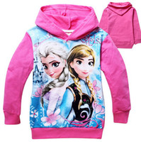 Jackets Girl Spring / Autumn 2014 New Arrival Elsa Anna Frozen Long Sleeves Girls Hoodies Kids Outwear Cotton Cartoon Children Clothes Hood Tee Free Shipping