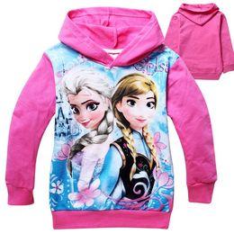 Wholesale 2014 New Arrival Elsa Anna Frozen Long Sleeves Girls Hoodies Kids Outwear Cotton Cartoon Children Clothes Hood Tee