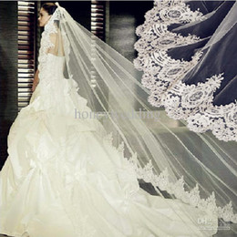 Wholesale Vintage White Ivory Long Tulle Wedding Bridal Veils One Layer Applique Lace Wedding Veil