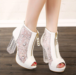 Wholesale Sexy Platform Shoes For Sale - Hot Sale New Summer Ladies Sexy High Crystal Heel Ankle Boots Platform Fish Mouth Pumps Shoes For Women