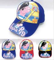 ball j - NEW ARRIVE Cartoon pink pig hat Fashion children s baseball cap Summer big along the sun hat Cheap cotton hats J