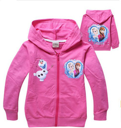 Wholesale 2014 New Design Girls Pink Jackets The Frozen Olaf Elsa Anna Children Clothes Tee Kids Outwear Cotton Cartoon