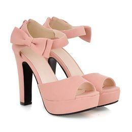 2017 taille 34 talon rose Plus la taille des bonbons couleur femmes chaussures bowtie rose sexy talons hauts sandales été haute plateforme sandales taille 33 34 à 41 42 43 taille 34 talon rose autorisation