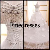 Wholesale Crystal Sweetheart Empire Sequin Sexy Wedding Dresses Sleeveless Organza Chapel Train Sweetheart Wedding White Fascinating Sheer Wedding Bea