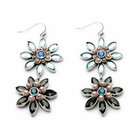 Women's antiqued copper earrings - Two crystal flowers dangle earring adorned with pearls antiqued silver finish vintage women long earring gift jewelry