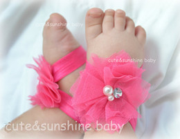 Wholesale MOQ pair Fuchsia Baby Girl summer Shoes Tulle Flower Sandals Newborn Infant Toddler Baby First Walkers wedding accessories