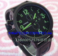Cheap Factory sales 50 mm black shell Japanese quartz movement timing clock leather strap scale green luminous male table wholesale