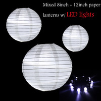 Wholesale 36PCS Mixed Size White Chinese Paper Lantern with Led mini Lights Wedding Party Festival Home Decoration
