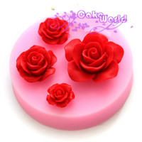 Wholesale Rose flower fondant cake silicone decorating tools cooking soap chocolate cookie cutter sugarcraft paste mold