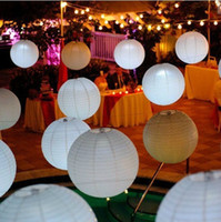 Wedding   36pcs lot 8inch White Chinese Paper Lantern with Led mini Lights Wedding Party Lampshade Festival Home Decoration