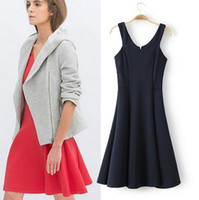 Cheap [G2-19] Free shipping 2014 new women's sexy sling zipper dress frap waist solid color vest dresses free shipping