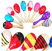 Wooden party maracas - New Arrival set cm Small size Wooden Maracas Kids Musical Wood Rattles Party Favor Educational Baby Shakers