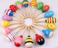 Wholesale New Arrival set cm Large size Wooden Maracas Kids Musical Wood Rattles Party Favor Educational Baby Shakers