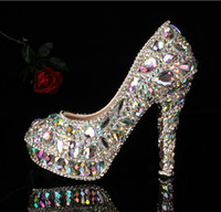 Cheap prom heels Women's Wedding shoes crystal Evening shoes 10cm High Heels Sandals Waterproof shoes woman Color Focus silver rhinestone #619