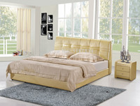 Wholesale A1032 Moder home furniture bedroom leather soft royal large size soft bed comfortable leather soft bed