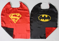 Wholesale 90cm Superhero Batman Double Sided reversible Cape RED front BLACK back for Children for Halloween Holiday Birthday Party