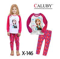 Unisex Spring/Autumn 2 3 4 6 8 10 Wholesale -Frozen children clothing girl girls frozen elsa and anna long sleeved sleeve winter pajamas pyjamas sleepwear many colors