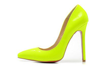 Wholesale New women crystal fluorescent green pointed toe genuine leather red bottom high heels designer cm stiletto heels pumps shoes