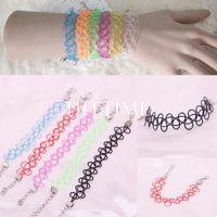 Wholesale 2014 New Vintage Colors Elastic Tattoo Hippy Chick Henna Stretch Choker Bracelet