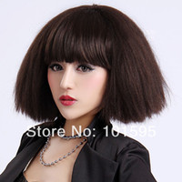 Dark Brown Curly Synthetic Hair COLORONE Capless Short High Quality Synthetic Brown Curls Wig HCWG033 Free Shipping
