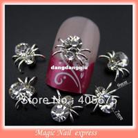 Wholesale d metal silver nail charms DIY rhinestones spider nail art decorations scrapbooking tools nail supplies