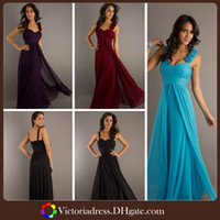 Wholesale Formal Flower Ruffle Two shoulder chiffon long ball party gown bridesmaid dresses Black Wine Red Light Blue Grape