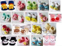 Wholesale-Free shipping 18 design Lovely Cartoon Baby Socks Anti Slip Cotton With Animal Unisex Slipper Shoes Newborn 0-24Month
