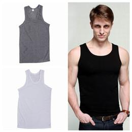 Wholesale New Tank top Vest Men H shaped Bar Coarse Pitch Thread Cotton Men Vest EET