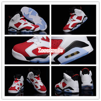 Wholesale Famous Trainers Retro VI Men s Sports Basketball Shoes White Carmine Black Size